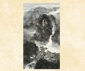 中国近代画家 山水図 掛軸