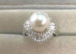 真珠リングダイヤモンド付き プラチナ900